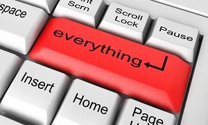 everything word on white keyboard